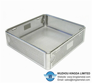 Perforated basket for medical disinfection