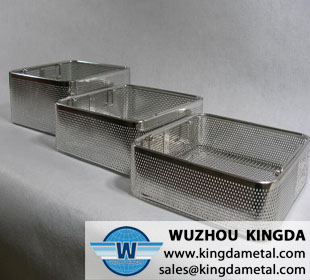 Perforated medical sterilizing basket