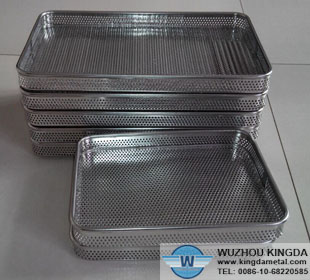 Perforated metal basket tray