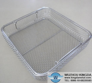 Stainless steel hospital disinfection basket