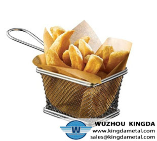 Stainless steel mesh fryer basket