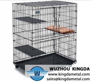 Wire mesh foldable pet cage