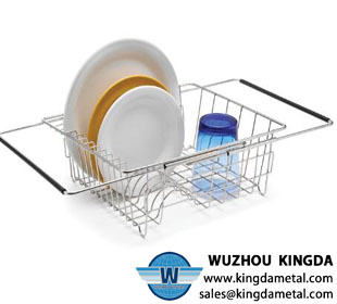 Wire sink dish drainer