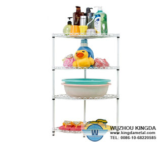 Plastic coated bathroom corner shelves